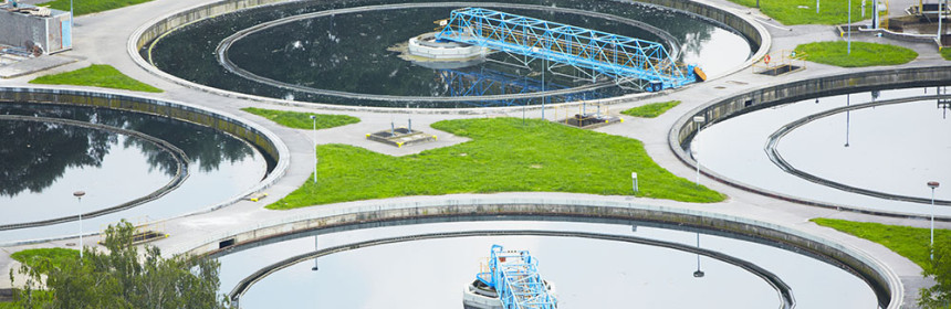 Waste water treatment plant - groups of storage tanks with waste water